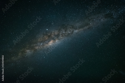 Stampa su Tela A night time photo of the Milky Way galaxy against a dark starry sky in the sout