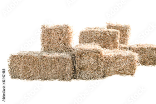 Wallpaper Mural Golden yellow haystack isolated on a white background