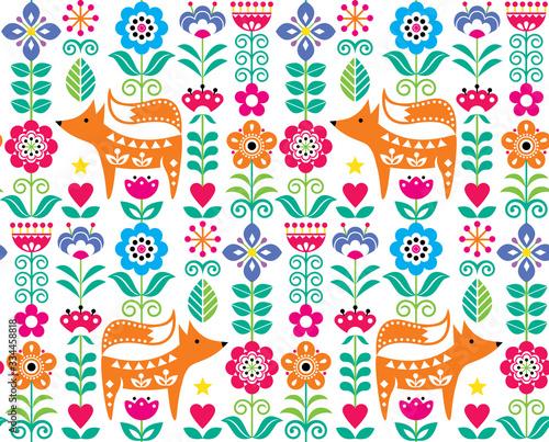 Fototapeta Scandinavian or Nordic folk art vector seamless pattern with flowers and fox, fl