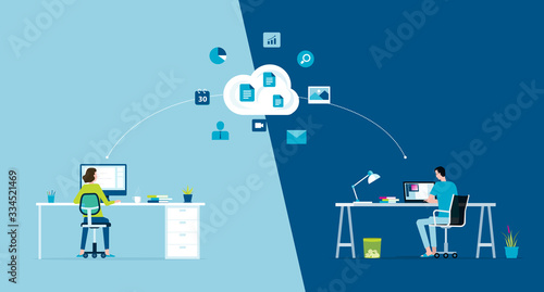 Obraz na plátně flat vector work from home workplace concept and business smart working online c