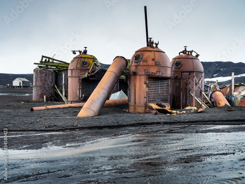 ruins of old equiplment of whale plant in Antarctica Fototapeta
