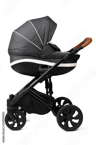 Fotomural Black baby carriage isolated on a white background