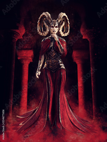 Fotografia Fantasy sorceress dressed in red standing in a stone temple in red fog