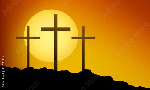 Fotografiet Three crosses on the mountain for Good Friday, vector art illustration