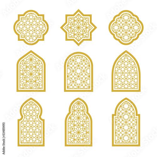 gold arabic ornamental windows set Fototapeta