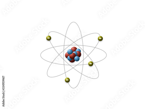 Obraz na płótnie Rutherford's model shows that an atom is mostly empty space, with electrons orbiting a fixed, positively charged nucleus in set, predictable paths