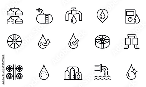 Photographie water treatment icons vector design black and white