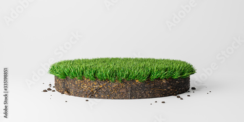 Canvas Print Round soil ground cross section with green grass, circle cutaway terrain floor