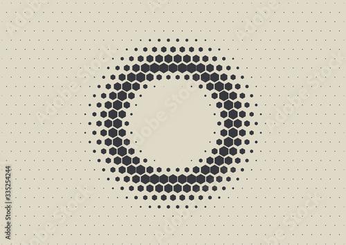 2D Abstract Geometric Wave Hex Halftone Pattern Fototapet