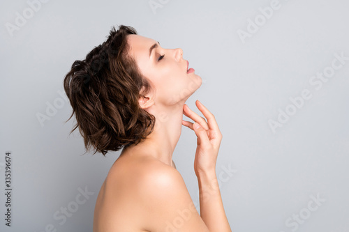 Fotografie, Obraz Closeup profile photo of attractive beautiful naked lady bob short hairstyle sen