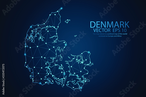 Canvas Print Abstract mash line and point scales on dark background with map of Denmark