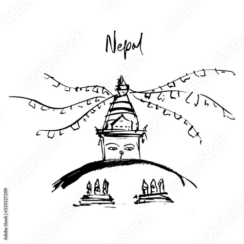 Canvas Print A stupa of enlightenment in Nepal with many mantras.