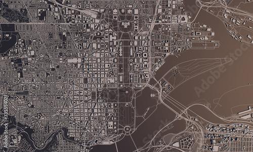 Obraz na plátně Washington DC city map 3D Rendering. Aerial satellite view.