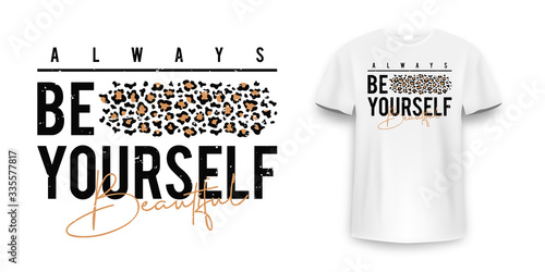 T-shirt design with leopard print фототапет
