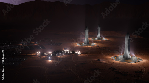Photographie A depiction of a base on a hostile and barren planet