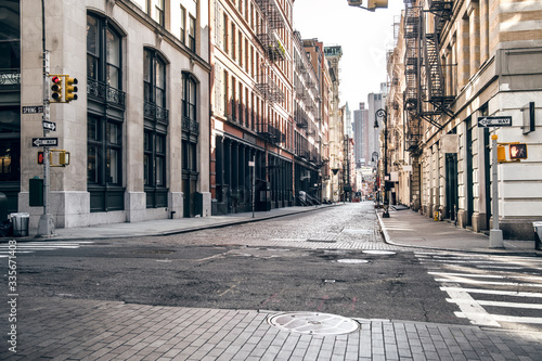 Obraz na plátne Empty street at sunset time in SoHo district in Manhattan, New York
