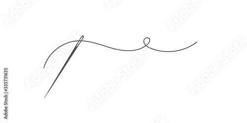Fototapeta Needle and thread silhouette icon vector illustration
