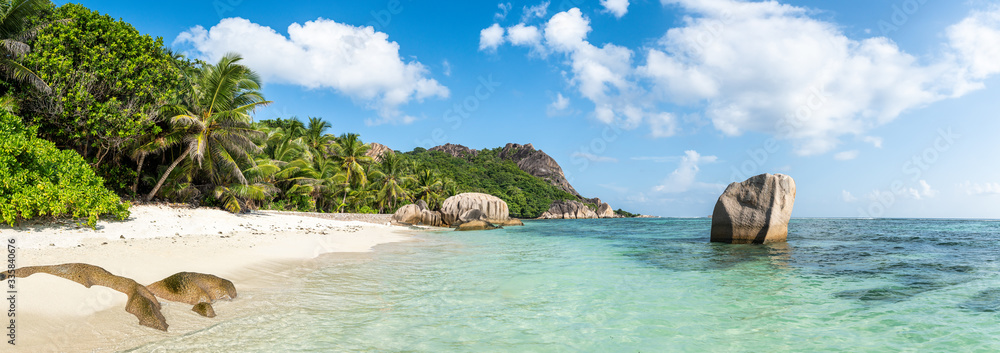 Panoramic view of Anse Source d'Argent beach in the Seychelles