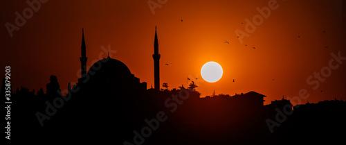 Panoramic silhouette of islam religion mosque at sun sunset twilight