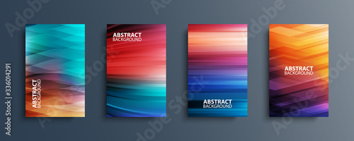 Fotografie, Tablou Set of abstract color backgrounds with wave or line patterns