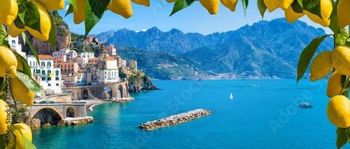 Canvas Print Small town Atrani on Amalfi Coast in province of Salerno, Campania region, Italy