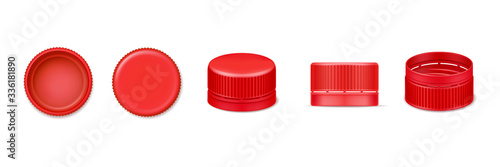 Wall mural Set of isolated 3d bottle cap or vector realistic lid for water. Red beverage cover from top and bottom, side view. Design of plastic element for liquid cover. Garbage and recycle, fluid container