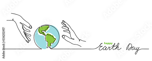 Happy earth day vector background. Simple planet and hands. Minimalist web banner, earth day vector illustration. One continuous line drawing #336202417