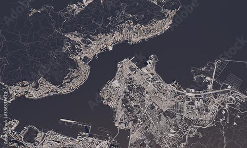 Obraz na plátně Hong Kong city map 3D Rendering. Aerial satellite view.
