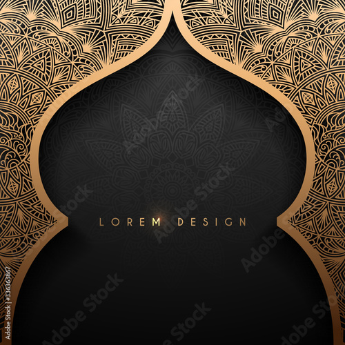 Tableau sur Toile Gold arch with arabic pattern background