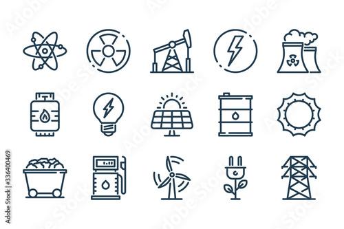 Fotografia Energy and Eco Power related line icon set
