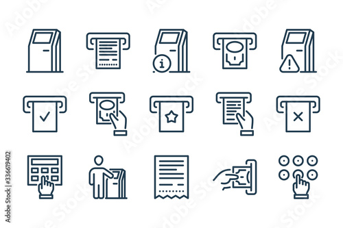 Fotografia Self-service Terminal and Kiosk related line icon set
