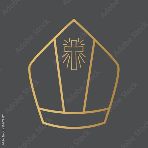 Obraz na plátne golden pope, bishop hat icon- vector illustration