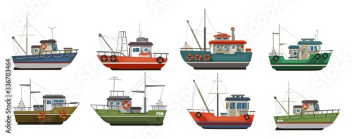 Fotografiet Different types of sea boats flat style set vector illustration