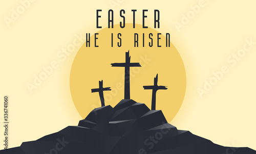 Fotografie, Tablou Vector landscape on religious theme with words Easter, He is risen
