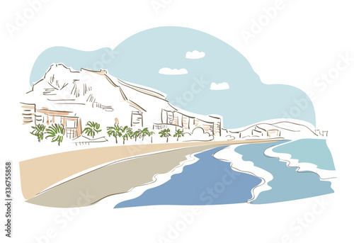 Valokuva Alicante Spain Europe vector sketch city illustration line art