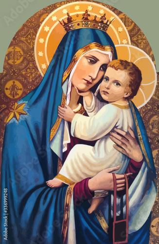 Fototapeta mary nazareth  orthodox church baby jesus theotokos   holy illustration bless