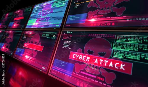 Canvastavla Cyber attack with skull symbol alert on screen