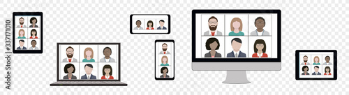 Foto Business team hangout and have remote video meeting online on device screen