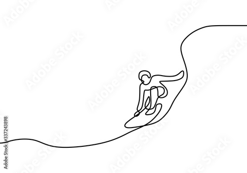 Continuous line drawing, a man standing on surfboard Fototapete