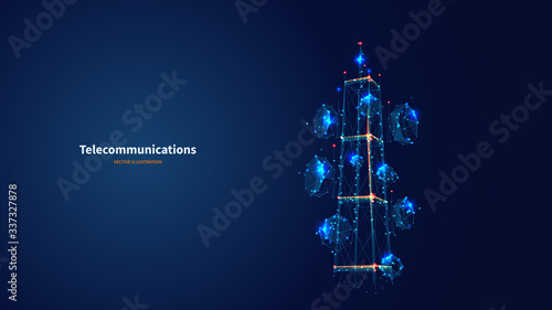 Fotografía Blue abstract 3d isolated  telecommunication tower