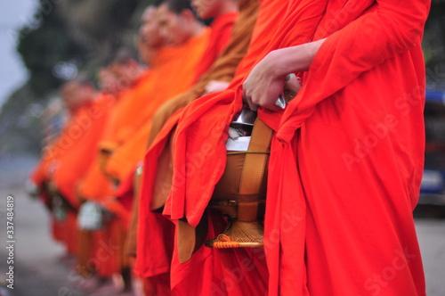 Monks Standing In Row Fototapet