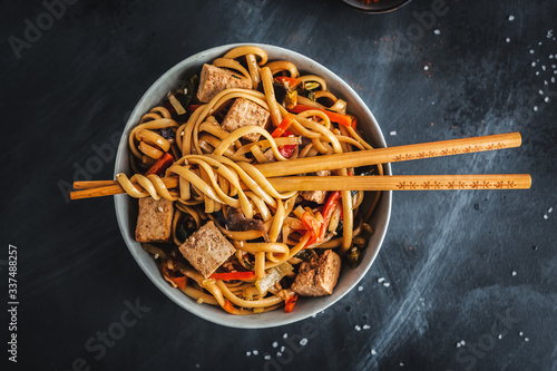 Fototapeta Asian noodles with cheese tofu