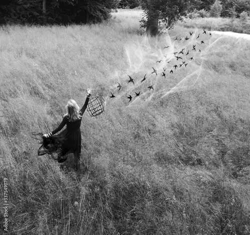 Fotografie, Tablou Rear View Of Woman Holding Birdcage While Birds Flying Over Landscape