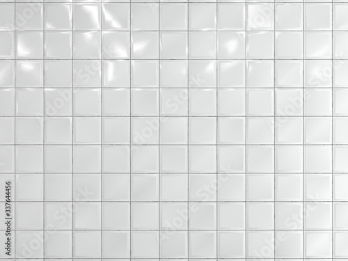 Tela White squares ceramic tile on the wall. 3d render.