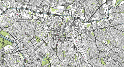 Fotografie, Obraz Detailed map of Sao Paulo, Brazil