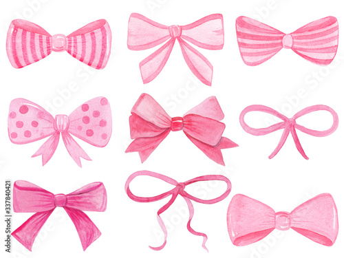 Canvas Print Watercolor pink bows set isolated on white background