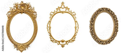 Obraz na plátně isolated golden antique luxury frame