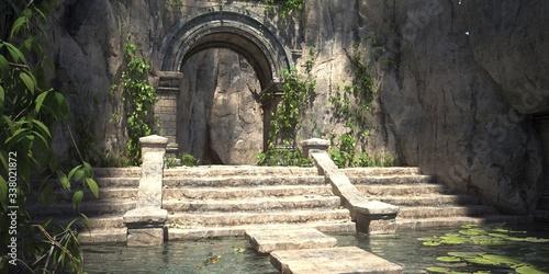 Obraz na płótnie Ruins of the sacred temple with green vegetation