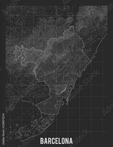 Fototapeta City map of Barcelona