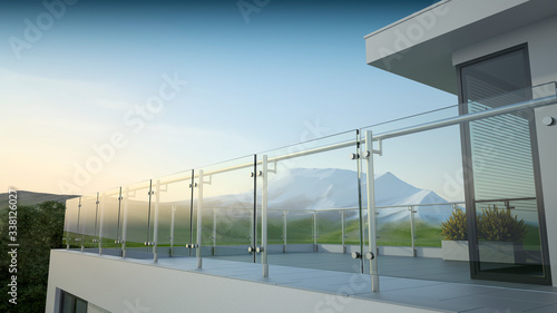 Modern stainless steel railing with glass panel and landscape mountain, 3D illustration